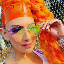CRSD 2020 moda stylowe kapanie Punk okulary przeciwsłoneczne w kształcie serca kobiety personality Party okulary kobiece kolorowe lustrzane odcienie bez oprawek