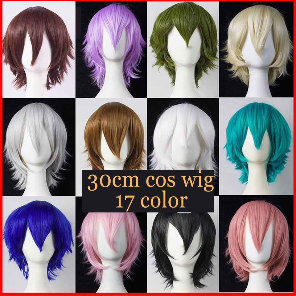Mumupi Cosplay Korte Bob Pruik Lolita Haar Roze Voor Vrouwen Cos Blauw Geel Synthetische Blond Puple Azure Rood Zwart Wit rood