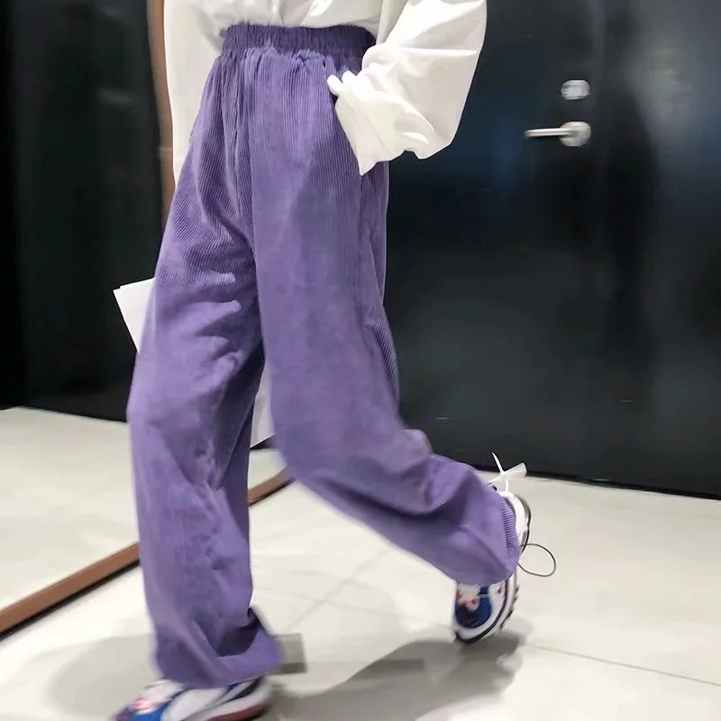 Vintage Purple Corduroy Loose Wide Leg Pants Drawstring Hem Jogger Hip Hop Harem Sweatpant Streetwear High Waist Casual Pants