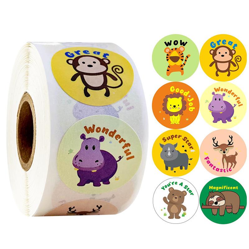 500pcs/roll Cute Cartoon Animals Stickers Journal Scrapbooking Teacher Encouragement Reward Sticker For Children Stationery