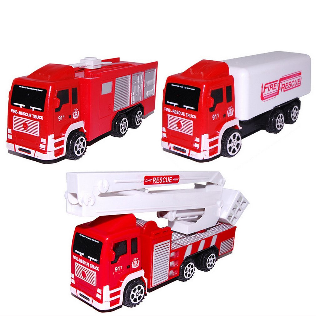 1pc Kids Boys Toy Car Simulation Ladder Water Tank Fire Truck Model Plastic Vehicles Toys Kids Gift Educational Children Cars