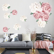 Peony Flower Wall Stickers for Bedroom Living room Wall Background Decor Self-adhesive Wall Decals Vinyl Removable Sticker Mural holy buddha stickers religion vinyl wall sticker for living room decal decor mural bedroom wall art decals muurstickers wl2025