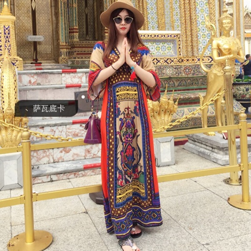 Women Vogue Ethnic Mexican Embroidered Long Boho Loose Dress Beach Maxi Dress#H1