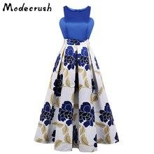 Modecrush Blue Light Dress Women Long Evening Party Plus Size Flower Print A Line Woman Night Dresses High Quality