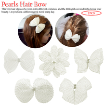 2 Pcs Boutique Pearl Hair Bows For Sweet Girls White Rhinestone Hairbows With Alligator Clip Lovely Accessories