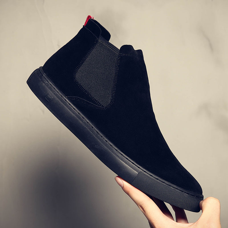 England design mens fashion chelsea boots cow suede leather shoes black slip on shoe flat platform