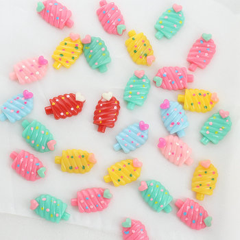 цена 100pcs Kawaii polka dot Ice-cream Cream Resin with heart Shiny Cabochons cab mixed colors 22mm Free Shipping D25 онлайн в 2017 году
