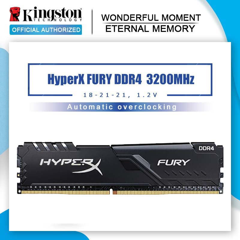 Memória de ram 3200mhz cl16 dimm 288-pino interna memoria para jogos kingston memoria ram ddr4 hyperx fury 8gb 16gb 32g desktop