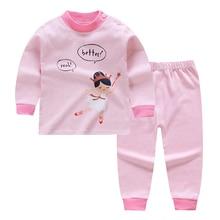 Cotton Cartoon Pants Sleepwear Pajamas-Sets Tops Baby-Girls Boys Kids Children's Keep-Warm