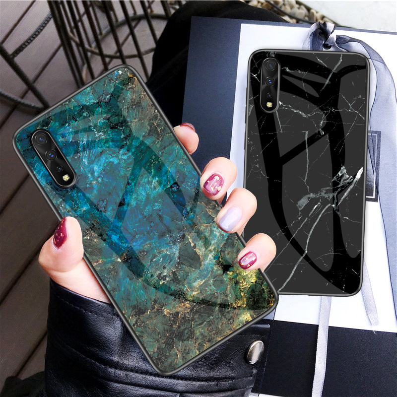 For Huawei Y9s Case Marble Glossy Tempered Glass Soft Silicone Shockproof Hard Phone Cover For Huawei Y9s