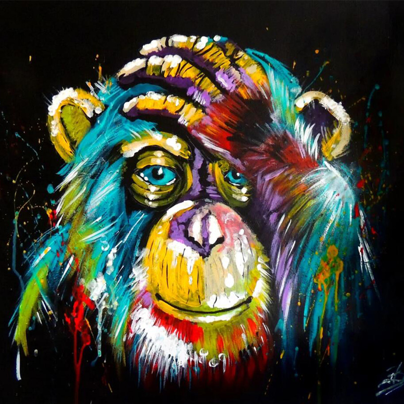 Pop Graffiti Art Canvas Paintings Thinking Monkey Giraffe Animals Wall Art Posters Print Pictures for Living Room Home Decor(China)