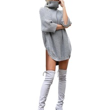 Women Oversize Basic Knitted Turtleneck Sweater Female Solid Collar Sexy Pullover Warm 2019 New Arrival Plus Size 3XL