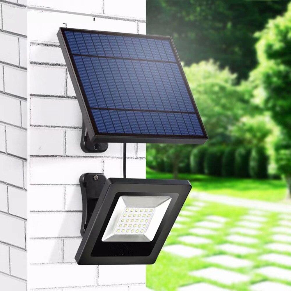 solar light outdoors with separable solar panel 16ft cord floodlight solar led light for garden wall underground