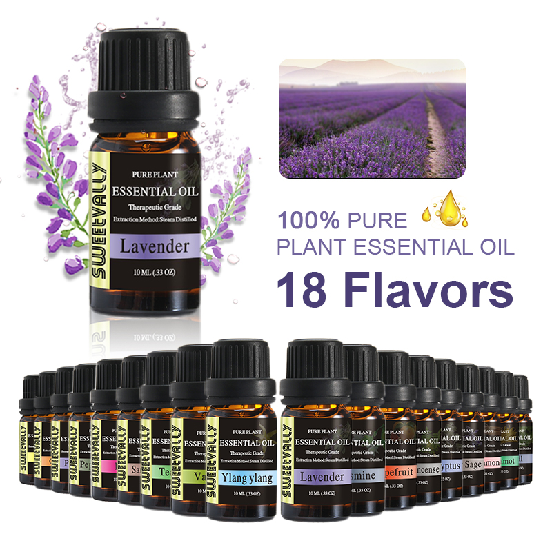 1pc 10ml Flower Fruit Essential Oils For Aromatherapy Diffusers 18 Flavors Essential Oil Relieve Body Help Sleeping Oil