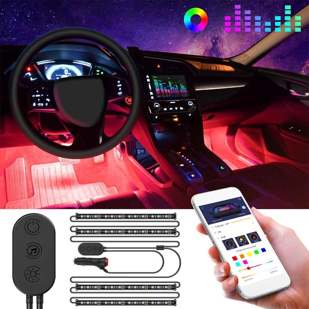 6-color RGB Bluetooth Atmosphere Light Car Interior Light RGB 15W Color Changing LED Atmosphere Light Car Led Car Light Led Auto