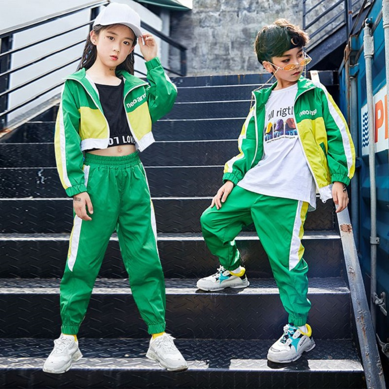 >Green Jazz Dance Costumes Kids Hiphop Street Dance Practice Wear Child Stage Performance Rave <font><b>Outfit</b></font> Casual Clothing DF1631