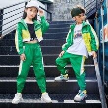 グリーンジャズダンス衣装の子供たちhiphopストリートダンス練習着子ステージパフォーマンス絶賛衣装カジュアル服DF1631
