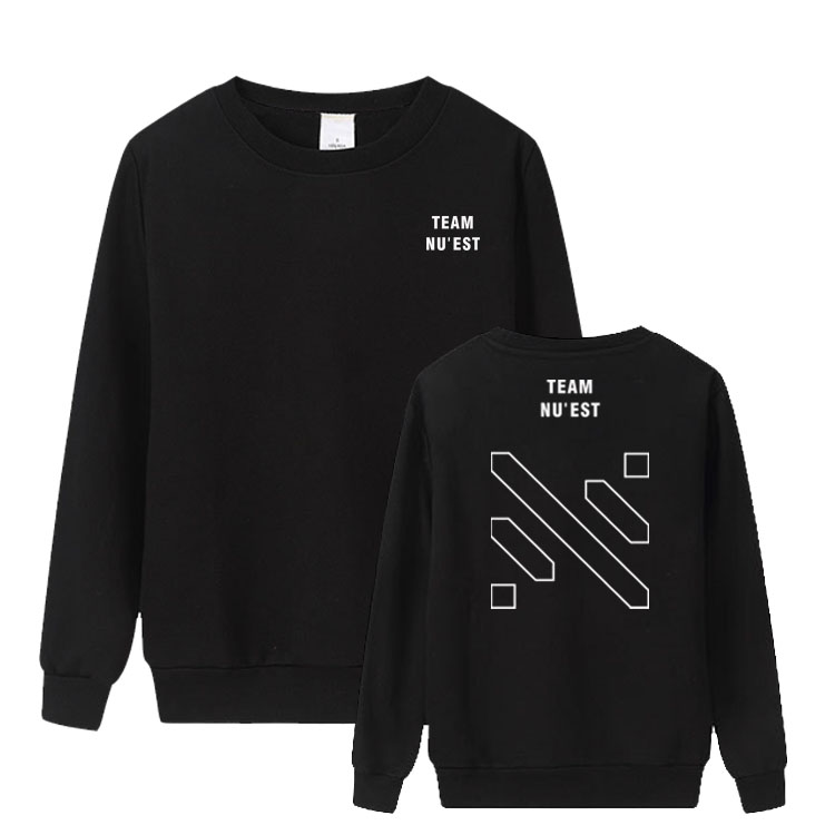 New Arrival Kpop Nuest Concert Love Page Same Printing O Neck Thin Sweatshirt Unisex Fashion Pullover Sweatshirt 2 Colors