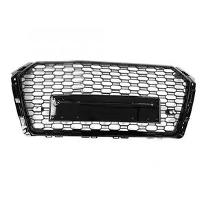 Image 3 - For Audi A4/S4 B9 RS4 Style 2017 2018 Front Sport Hex Mesh Honeycomb Hood Grill Gloss Black High Quality Car Accessories