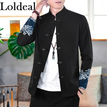 Loldeal Chinese Style Men Lightweight Jackets Casual Embroidered Collar Slim Fit