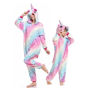 Image 2 - 着ぐるみ大人子供ユニコーンパジャマ動物ステッチの母と娘の家族マッチング服冬フランネル女性子供パジャマ