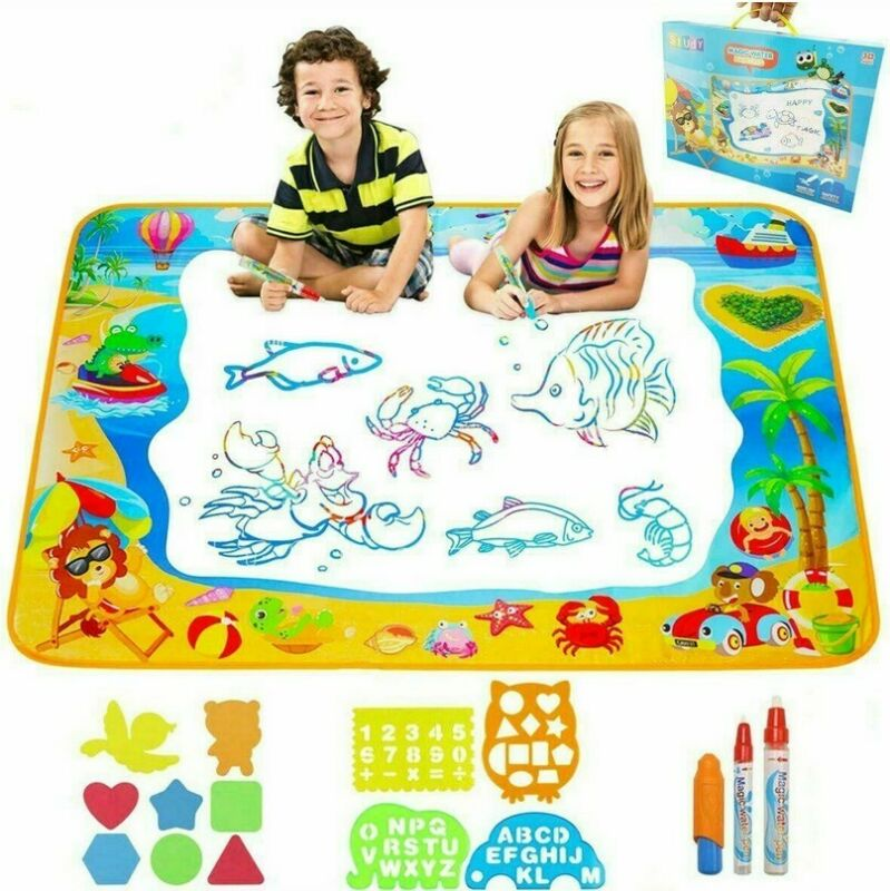 Big Size Magic Water Drawing Mat Coloring Doodle Carpet With 1 Magic Pens & Stamps Painting Drawing Board Toys Gift For Kid