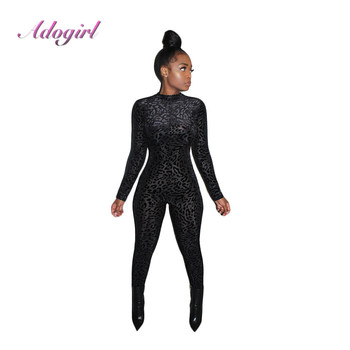 Autumn Black Leopard Print Long Sleeve O Neck Bodycon Jumpsuit Women Sexy Night Party Club Rompers Streetwear Outfit Overalls summer women party neon green leopard print sexy playsuit holiday mesh rompers club short sleeve bodycon jumpsuit