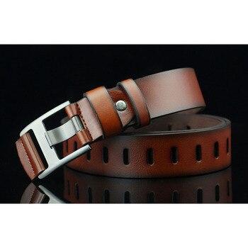 цена на Belt for men 2020 new alloy needle buckle hollow leisure men's belt youth retro cross hole women's belt