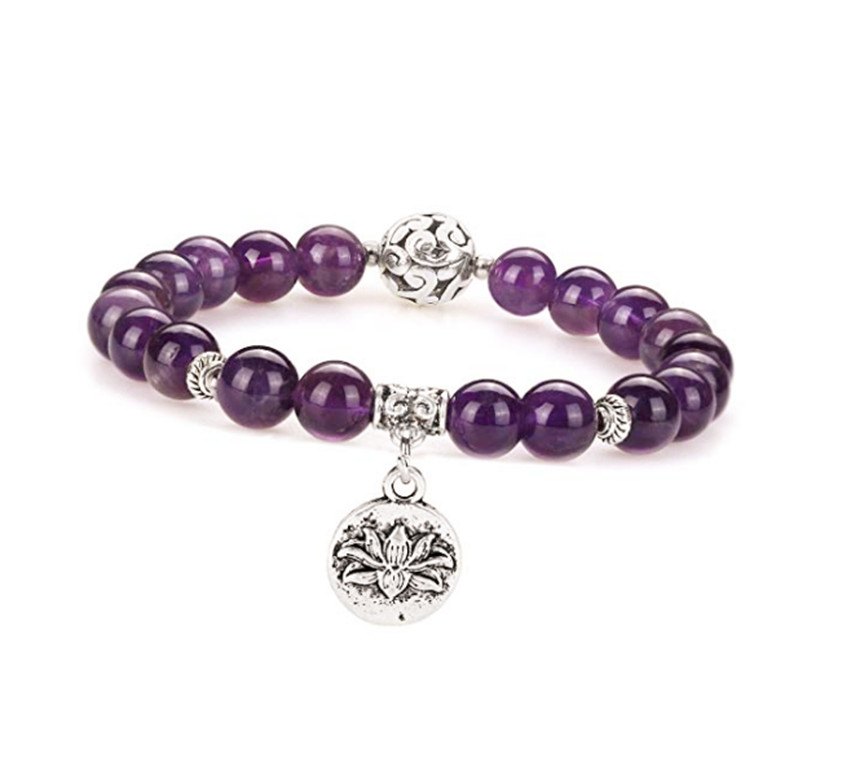 FYJS Unique Jewelry Silver Plated Vintage Lotus Flower Connect 8 mm Natural Purple Amethysts Round Beads Bracelet in Charm Bracelets from Jewelry Accessories