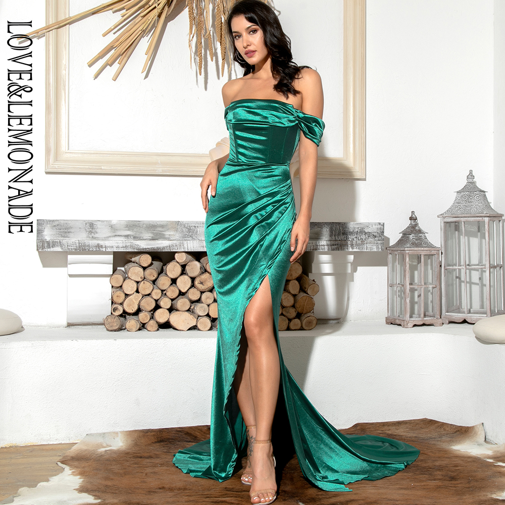 LOVE & LEMONADE Sexy Green Off-Shoulder Tube Top With Split Trailing Maxi Dress LM82060