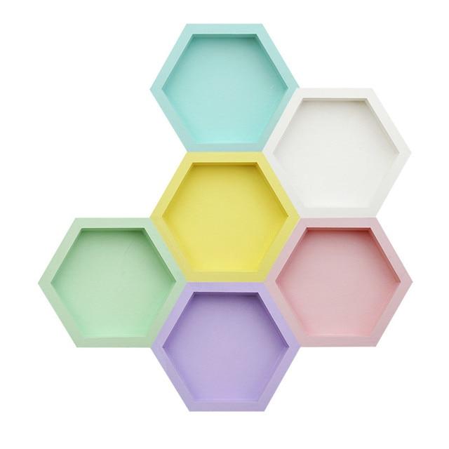 Plateau de rangement en bois nordique Chic Ins gâteau aux fruits assiette à Dessert couleur bonbon hexagone forme bijoux présentoir décor de bureau à la maison