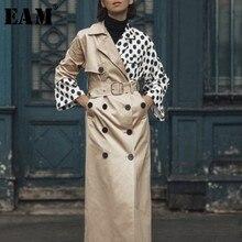 Long-Sleeve Split-Trench Windbreaker Spring Khaki Autumn Fashion Women New Fit Lapel