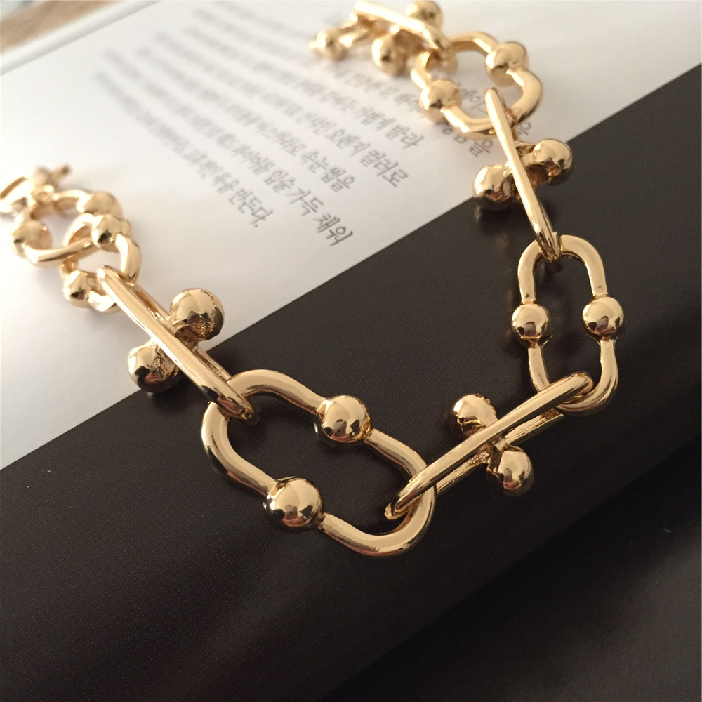 Modern Gold Color Ball Special Chain Shape Linked Bracelet For Women Girl Unique Special Gift Trendy Chic Arm Accessories