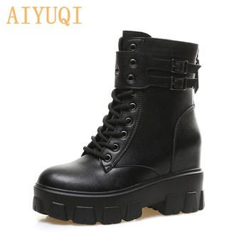 AIYUQI  Boots Women Fashion Internal Increase Women's Ankle Autumn 2020 New Genuine Leather Motorcycle - discount item  38% OFF Women's Shoes