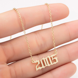 Stainless Steel Custom Jewelry Special Date Year Number Necklace for Women 1997 1998 1999 2000 From 1980 To 2005 Collares Mujer