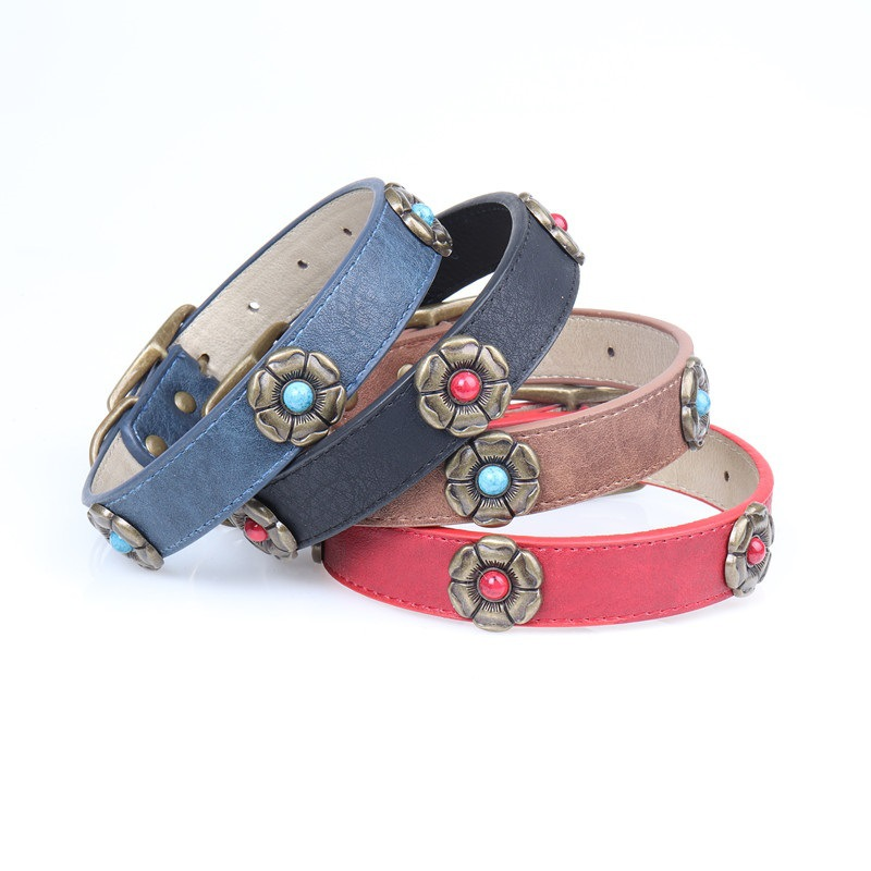 Amin Lattice In Large Dogs Neck Ring Bronze Flower Artificial Leather PU Neck Ring Pet Dog Collar