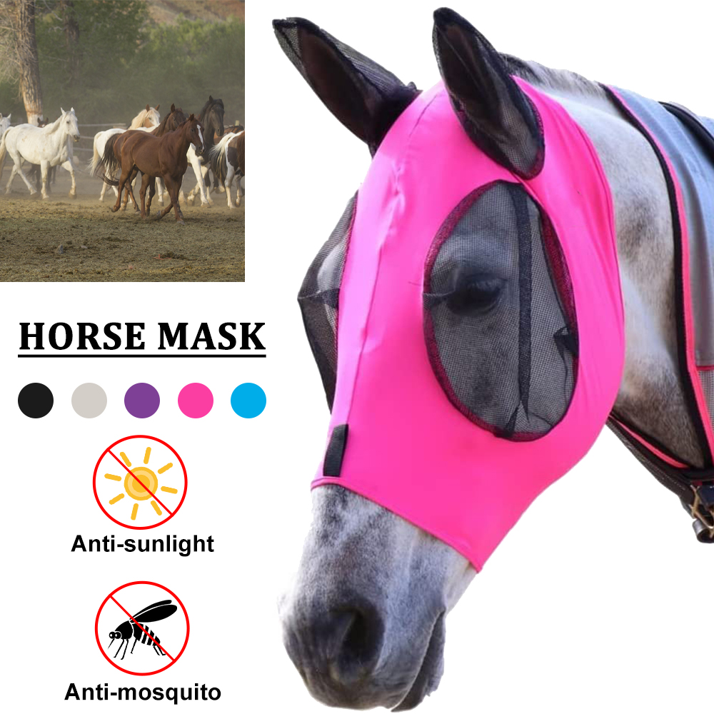 Anti-fly Anti-Mosquito Horse Mask Adjustable Mesh Horse Flying Mask Breathable Comfort Equestrian Supplies Horse Masks