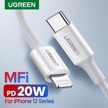 Ugreen MFi USB tip C yıldırım kablosu iPhone 12 Mini Pro Max 8 PD 18W 20W hızlı USB C şarj veri kablosu için Macbook Pro