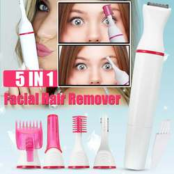 5 in1 Multifunction Women Electric Shaver Wool Device Lady Rechargeable Razor Female Epilator Eyebrow Nose Trimmer