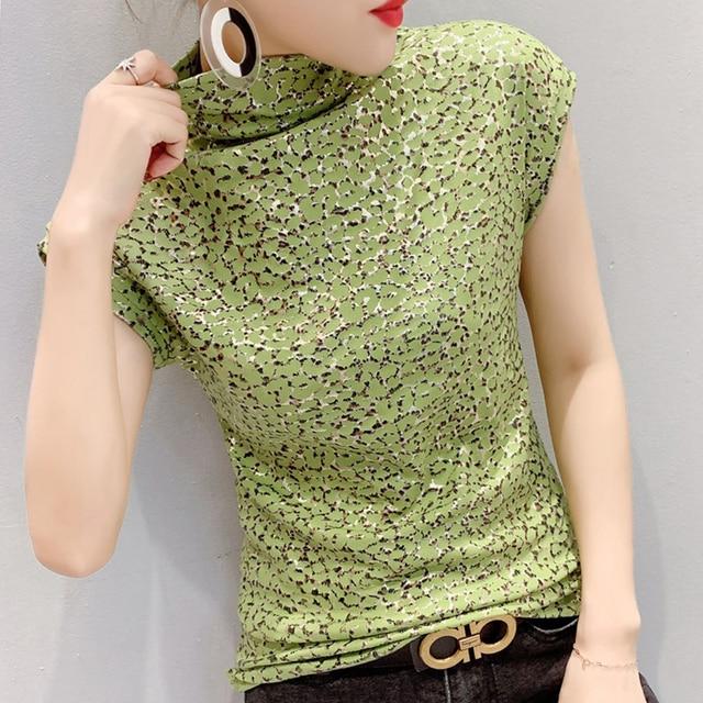 Shintimes-Camiseta con estampado de leopardo para mujer, Camiseta de cuello de tortuga, camiseta de manga corta para mujer, ropa de talla grande 3XL 2020 3