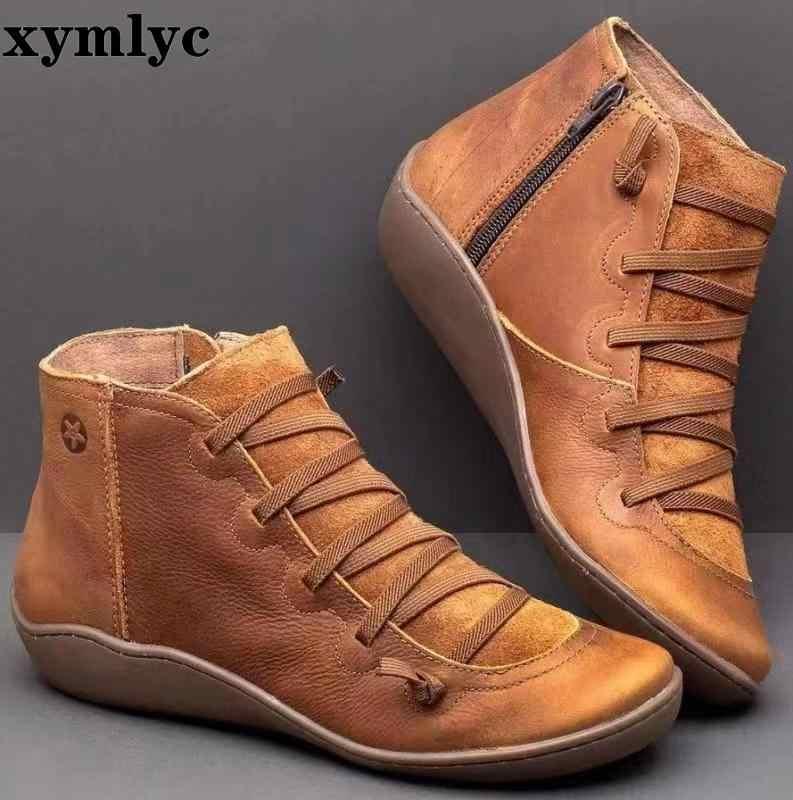 Kadınlar Vintage PU düz Zip yarım çizmeler bayanlar çapraz Strappy kadın ayakkabı kadın kadın kısa peluş 2019 sonbahar kış Botas mujer