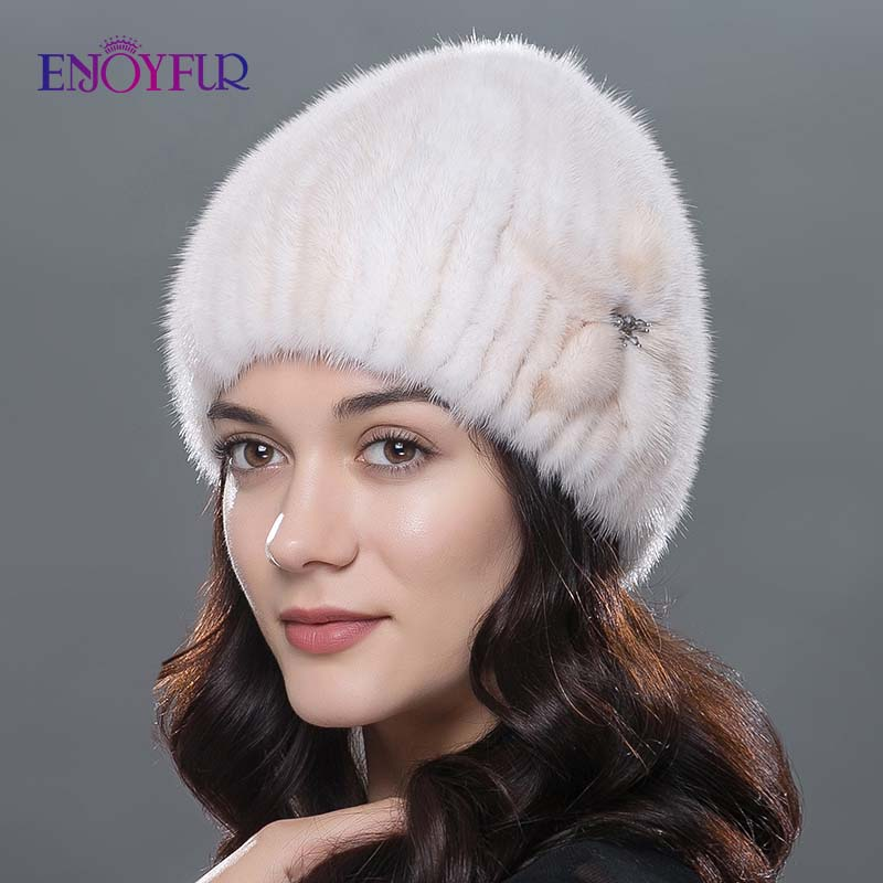 ENJOYFUR Women Winter Fur Hats Real Mink Fur Hat Thick Warm Fashion Knitted Fur Beanies Female Good Quality Fur Cap