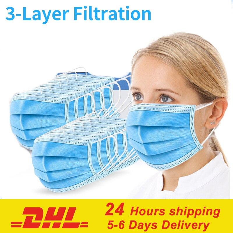 Пылезащитная маска для рта лица одноразовая защита 3 слоя маски для фильтра маска от гриппа 10-100 шт маска для рта унисекс