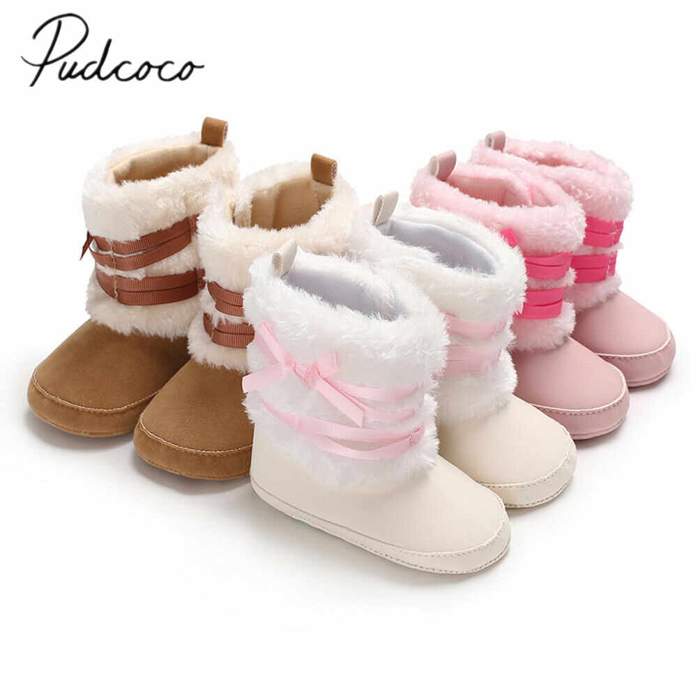 2019 Baby Boots Baby Girl Boy Snow Boots Winter Booties Infant Toddler Newborn Bowknot Crib Fuzzy Warm Solid Shoes 0-18M