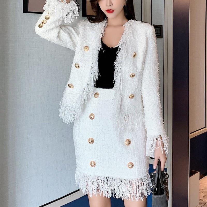 Nouvelle veste femmes automne hiver laine frangée Tweed gland deux pièces ensemble blanc mince à manches longues en vrac deux pièces tenues - 2