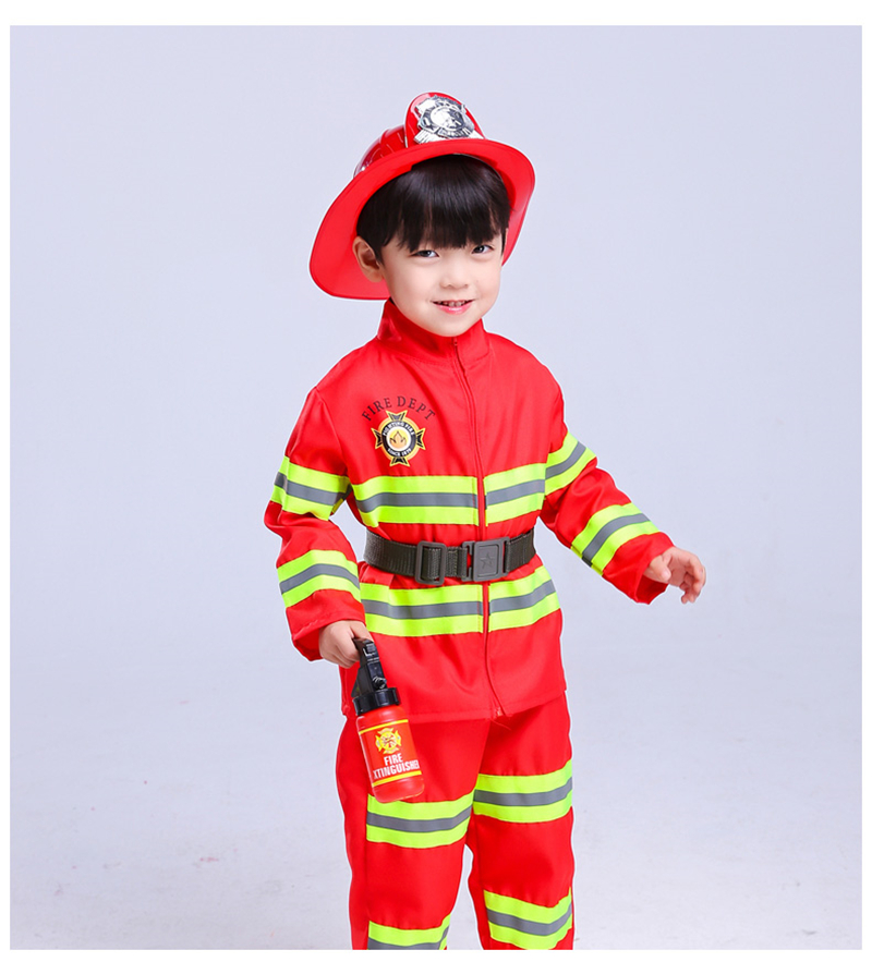 Cool Fireman Sam Uniform For Kids Adults Halloween Coaplay Firefighter Costumes Carnival Accessories Game Wear Free Shipping