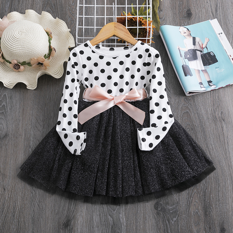 3 6 8 Years Long Sleeve Dress for Kids Girls Dot Autum Baby  Birthday Clothes  Winter Children Clothing Party Princess Dresses 3