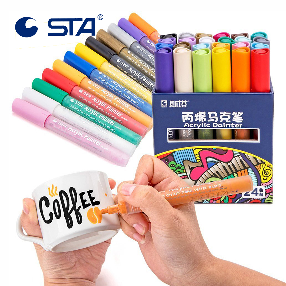 STA 12/24 Colors Acrylic Permanent Paint Marker Pen For Ceramic Rock Glass Porcelain Mug Wood Fabric Canvas Painting