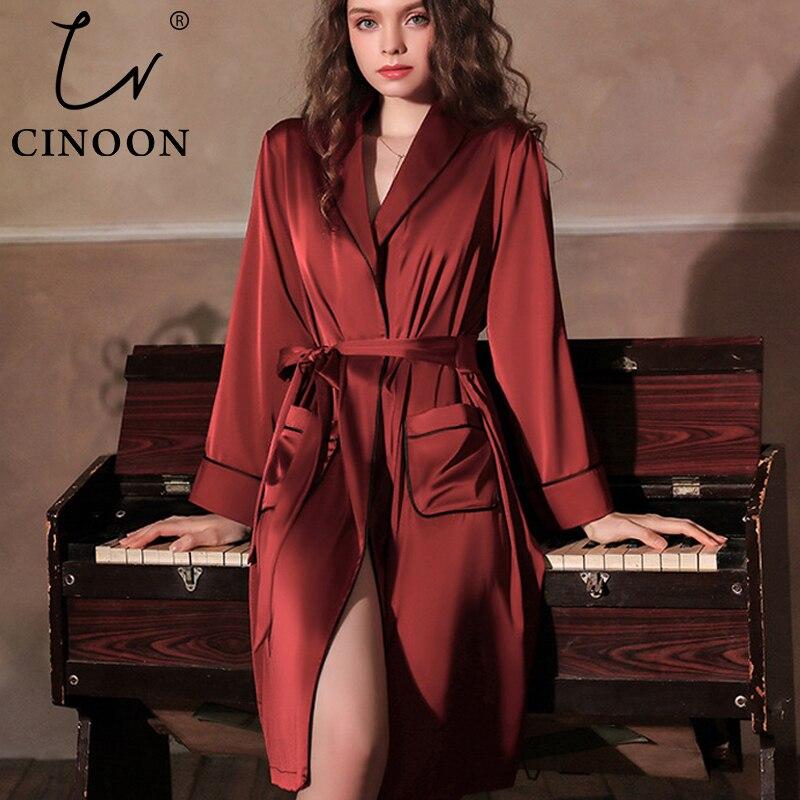 CINOON Satin Robe Female Intimate Lingerie Sleepwear Silky Bridal Wedding Gift Kimono Bathrobe Gown Nightgown Sexy Nightwear