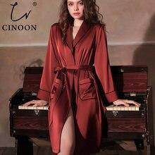Атласный халат cinoon женское интимное нижнее белье одежда для